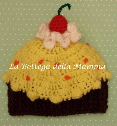 Cappello baby cupcake taglia 4/6 mesi