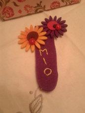 Segna libro in feltro con doppi girasoli piccoli colorati