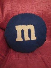 cuscino biscottoso - cioccolatino m&m azzurro