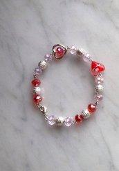 Bracciale in mezzo cristallo rosso e rosa, cuore rosso e perle argentate