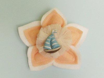 Bomboniera in feltro rosa con soggetto 'mare' per il battesimo, la comunione o la cresima della vostra bambina