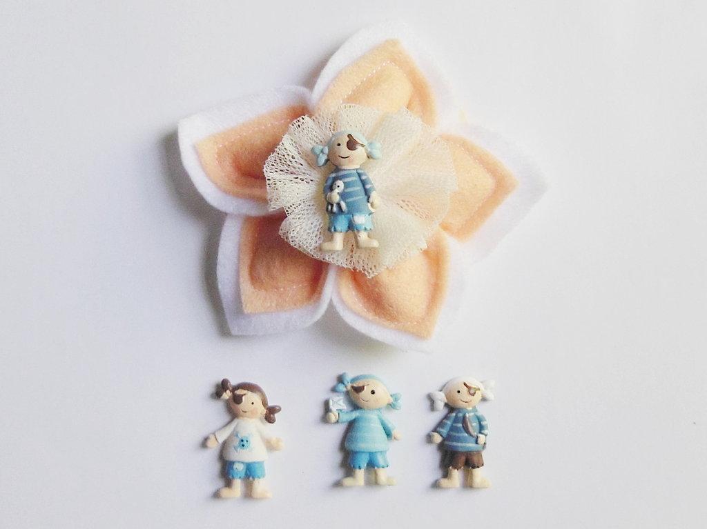 Set di 8 bomboniere in feltro rosa con soggetto ' baby marinai - pirati ' per il battesimo, la comunione o la cresima della vostra bambina
