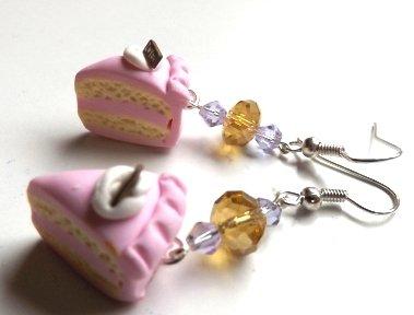 orecchini fetta di torta e cristalli,dolci,torta