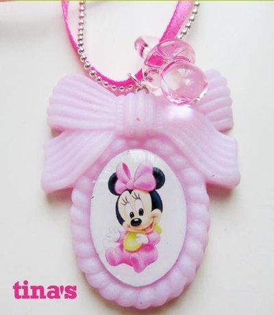 Ciondolo collana baby minnie e ciuccio rosa in fimo e cernit