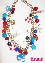 Collana fimo e cernit in stile marino - sea - perle - ancore - salvagenti polipo