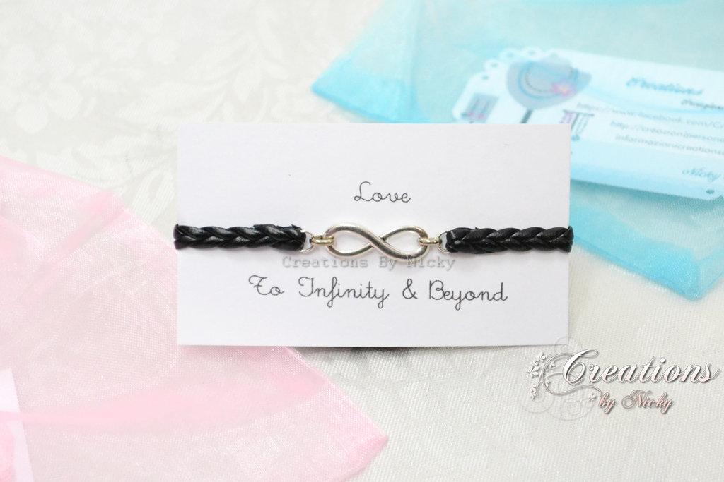 Bracciale con ciondolo Infinito - To Infinity & Beyond - Verso l'infinito e oltre - nero
