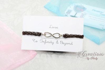 Bracciale con ciondolo Infinito - To Infinity & Beyond - Verso l'infinito e oltre - marrone testa di moro