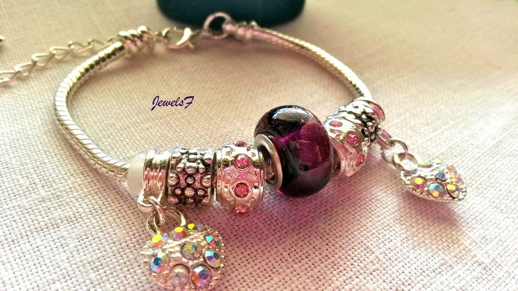 Bracciale perle rosa viola pietre cuore strass