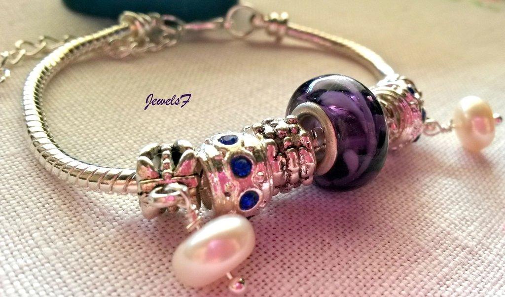 Bracciale perle viola strass