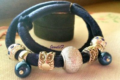 Bracciale velluto blu gufi