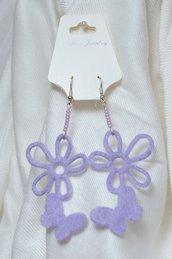 Orecchini Fiore Farfalla lilla