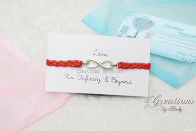 Bracciale con ciondolo Infinito - To Infinity & Beyond - Verso l'infinito e oltre - Rosso