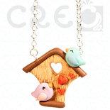 Collana Home Love - uccellini innamorati con casetta | fimo