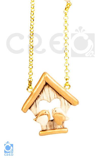 Collana Home Love Gold - uccellini innamorati con casetta   fimo