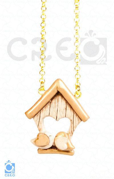 Collana Home Love Gold - uccellini innamorati con casetta | fimo