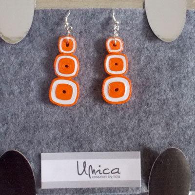 orecchini carta arancio quadrati