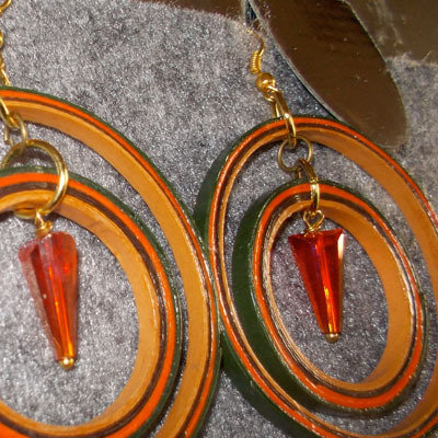 orecchini cerchio verde arancio