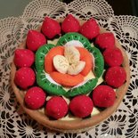 scatola decorata in feltro crostata di frutta