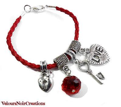 bracciale con lucchetto chiave love cuore rosso