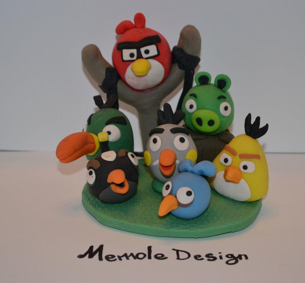 cake topper angry bird porcellana fredda memole design