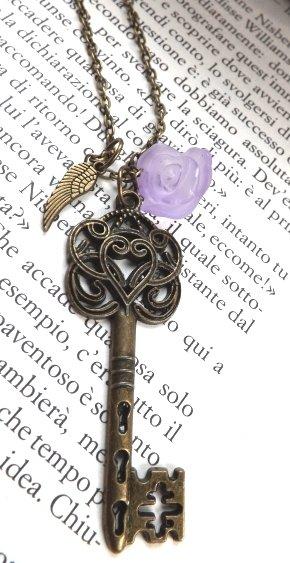 Collana chiave con ali e rosa vintage love amore