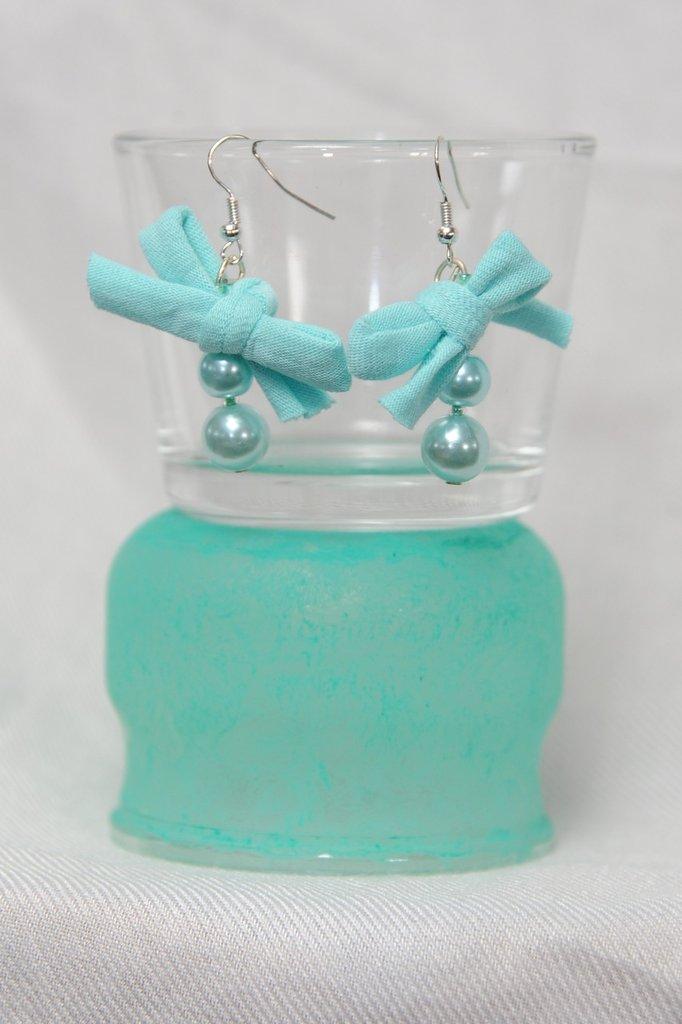 Orecchini Verde Acqua Perle e Fiocco