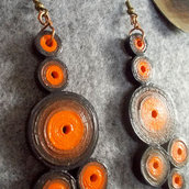 orecchini tondi arancio e marroni