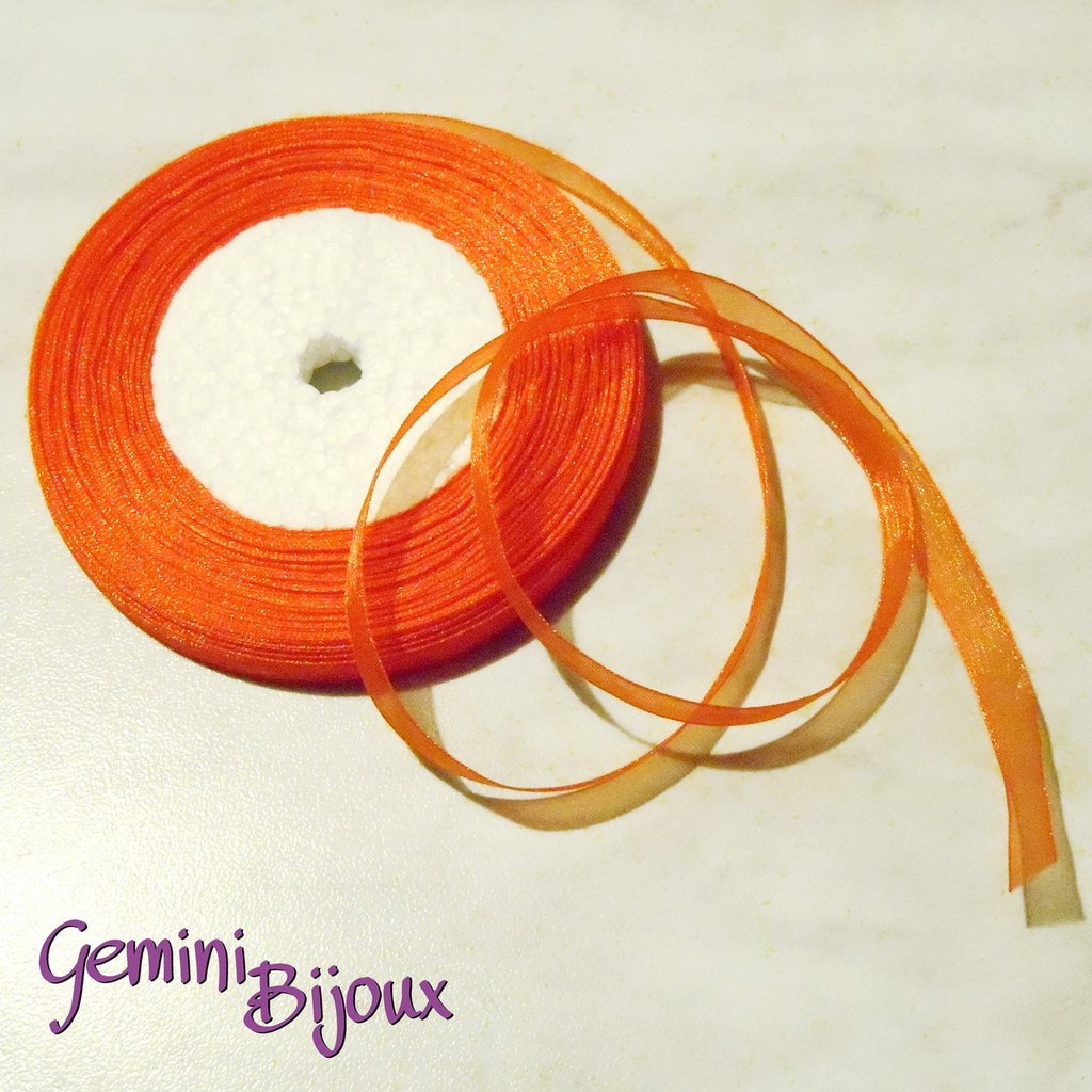 Lotto 1 mt. nastro organza 10mm arancio