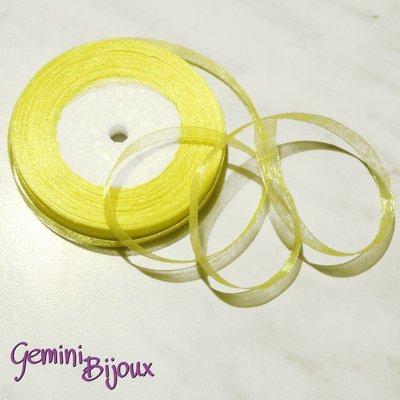 Lotto 1 mt. nastro organza 10mm giallo limone