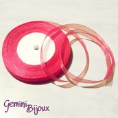 Lotto 1 mt. nastro organza 10mm fuxia