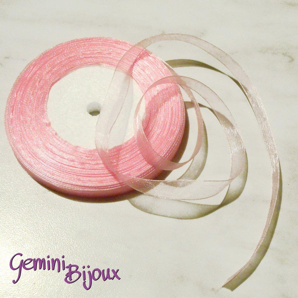 Lotto 1 mt. nastro organza 10mm rosa pink