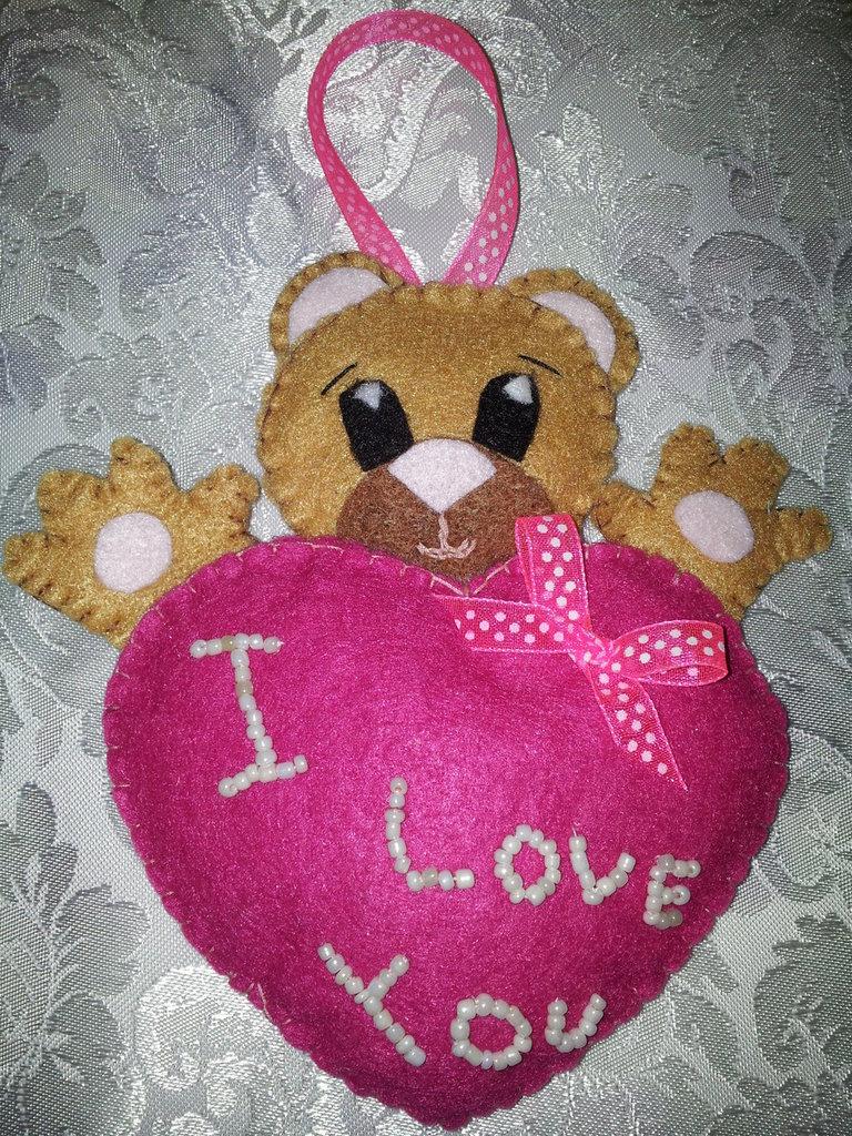 orsetto love,san valentino, in feltro