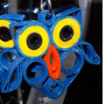 orecchini gufetti blu