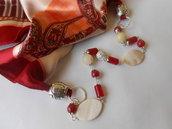 Foulard gioiello  con pietre dure,  madreperle ovali , chiusura calamitata , idea regalo.