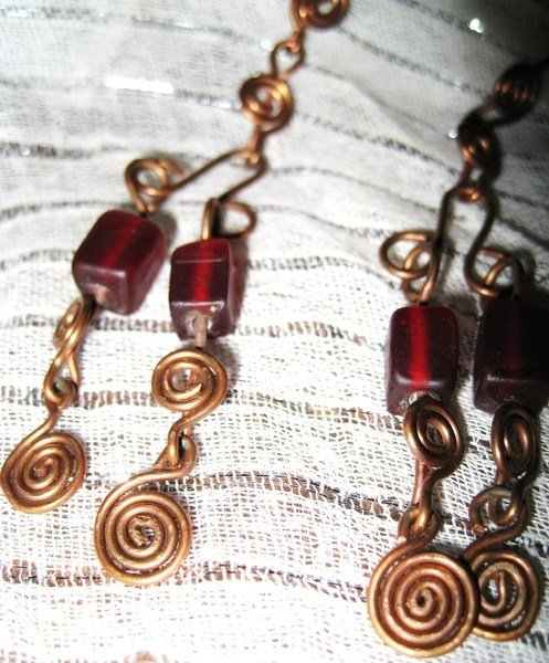 Copper earrings with red cubes
