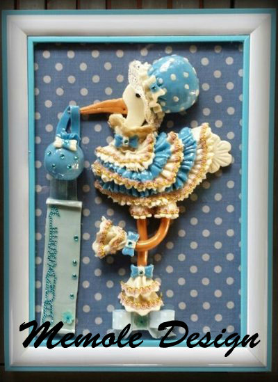 Cicogna nascita portafortuna- porcellana fredda memole design