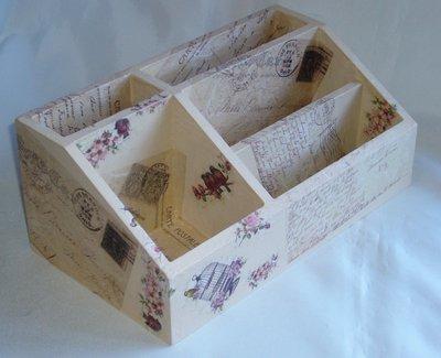Portaposta, Portadocumenti in legno con scomparti, Decoupage