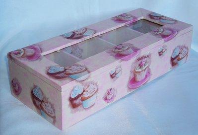 Cofanetto Porta te, Porta Tisane con Cupcakes
