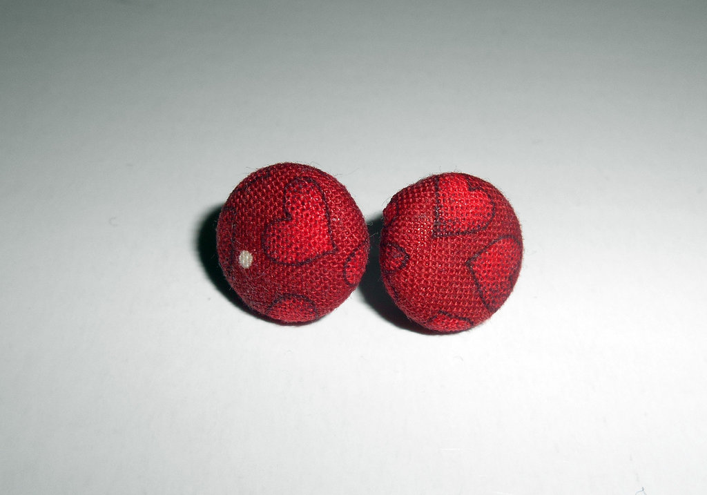 Orecchini a bottoncino in stoffa - Cuori - Pois - Stud Earrings - Button Earrings