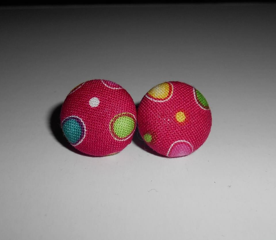 Orecchini a Bottoncino in stoffa Pois - Stud Earrings - Button Earrings