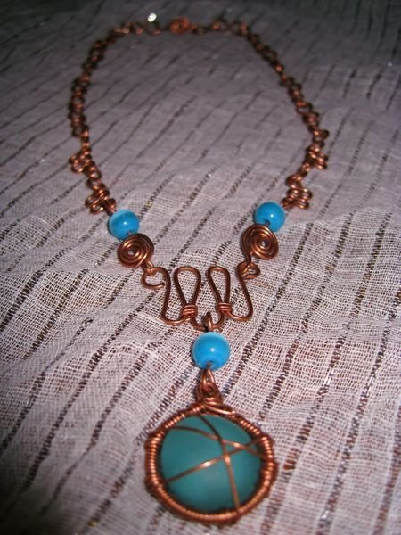 Copper necklace with Sky-blu stone