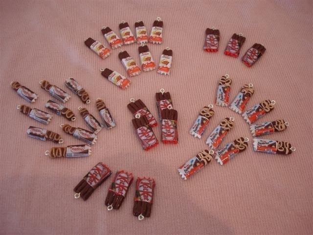 Ciondoli MISTO SNACK - duplo, kinder cereali, bueno, kitkat, fimo - orecchini, bracciali, charms