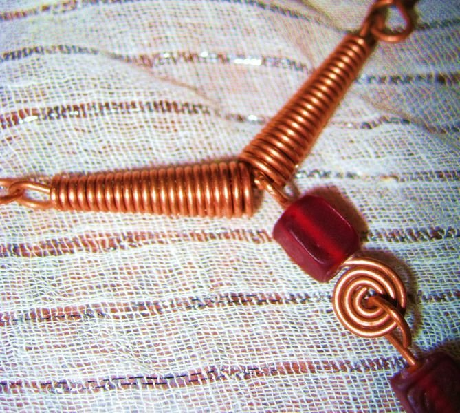 Copper necklace with red cubes