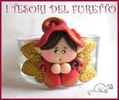 "Portacandela ""Folletto Rosso/Oro"" segnaposto, bomboniera, matrimonio, battesimo, cresima, idea regalo San Valentino, fimo cernit kawaii"