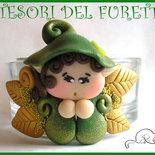 "Portacandela ""Folletto Verde/Oro"" segnaposto, bomboniera, matrimonio, battesimo, cresima, idea regalo San Valentino, fimo cernit kawaii"