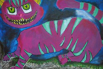 Stregatto dipinto 50x70