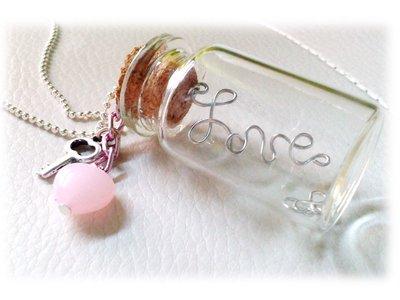 """Collana """"La chiave del mio cuore"""" - boccettina bottiglietta love wire (infinito cuore)"""