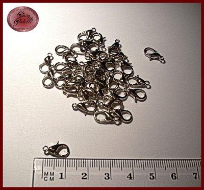 15x chiusura moschettone argento scuro 12x7