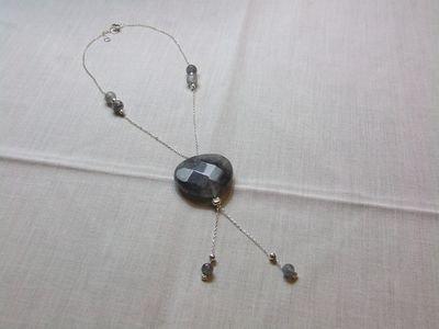 Collana in argento con cuore e perle in quarzo color grigio - cod. A25