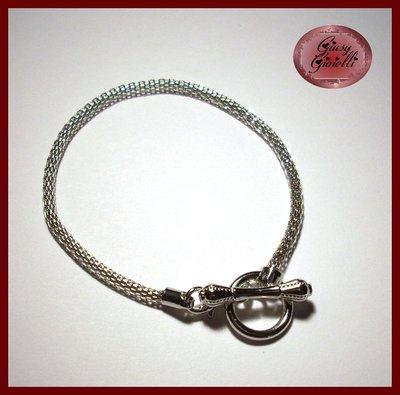 Base bracciale per perle a foro largo con chiusura a T 20 cm.